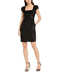 Square-Neck Frayed Shimmer Dress