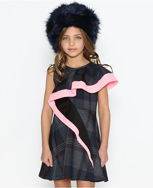 Lanoosh Toddler Asymmetrical Flare Detail Sleeveless Dress with A Fun Pop Of Pink On The Flare