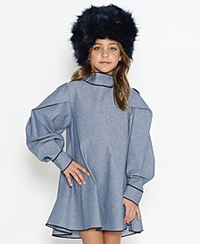 Little Girls Free Flowy Long Sleeve Dress with Puffy Shoulders and Necktie Detail On The Back
