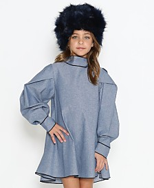 Lanoosh Little Girls Free Flowy Long Sleeve Dress with Puffy Shoulders and Necktie Detail On The Back