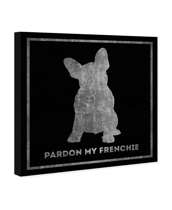 """Oliver Gal Frenchie Noir Silver Canvas Art, 36"""" x 36"""""""