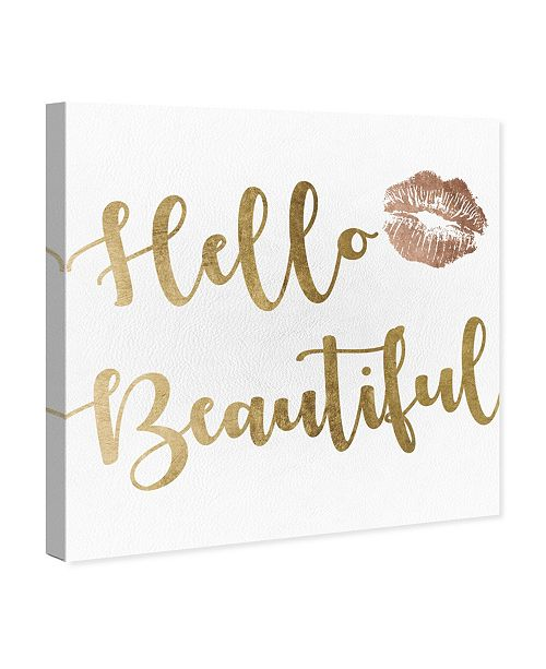 """Oliver Gal Hello Beautiful Gold and Leather Canvas Art, 16"""" x 16"""""""