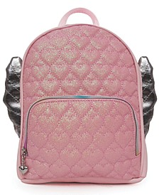 Glitter Heart Quilt Winged Mini Backpack