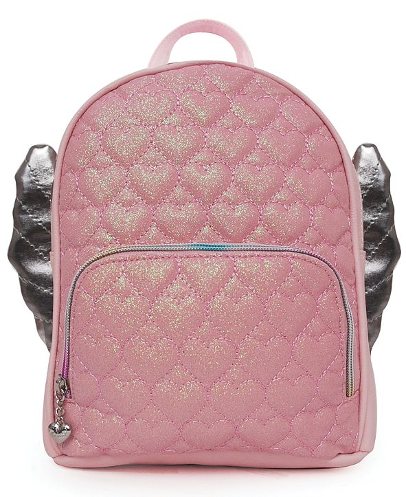 OMG! Accessories Glitter Heart Quilt Winged Mini Backpack