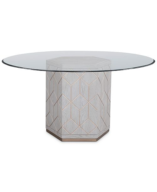 "Furniture Perrine 54"" Glass Top Round Dining Table"