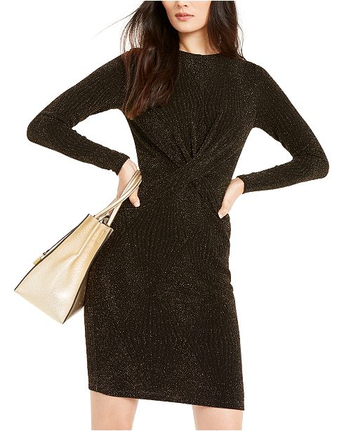 Michael Kors Glitter Twist-Front Sheath Dress, Regular & Petite