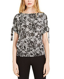 Tie Shoulder Floral Print Top, Regular & Petite