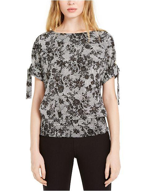 Michael Kors Tie Shoulder Floral Print Top, Regular & Petite