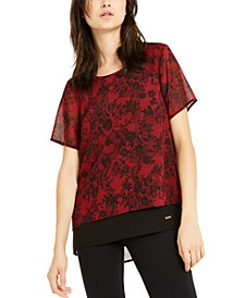 Floral Lace Layered-Look Top, Regular & Petite