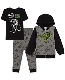 Little Boys 3-Pc. Dino Hunter Hoodie, T-Shirt & Joggers Set