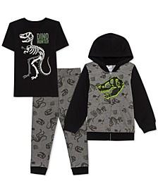 Toddler Boys 3-Pc. Dino Hunter Hoodie, T-Shirt & Joggers Set