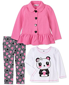 Toddler Girls 3-Pc. Ruffled Fleece Jacket, Panda Top & Heart-Print Leggings Set