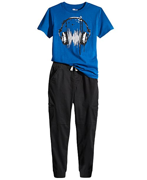 Epic Threads Big Boys Headphones T-Shirt & Stretch Twill Cargo Joggers, Created For Macy's