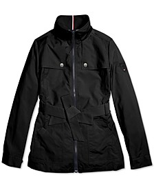Women's Hailey Belted Jacket With Magnetic Zipper