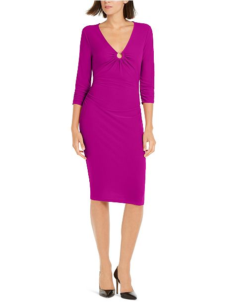 INC International Concepts INC  Ring-Hardware Ruched Midi Dress, Created For Macy's