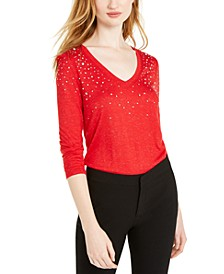 INC Embellished Shine V-Neck Top, Created for Macy's