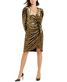 INC  Puff-Sleeve Velvet Wrap Dress, Created for Macy's