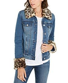 INC Faux-Fur-Trim Denim Jacket, Created For Macy's
