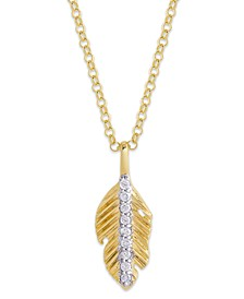 Diamond 1/10 ct. t.w. Leaf Pendant Necklace in 14K Yellow Gold over Sterling Silver