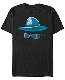 Universal Monsters Men's Invisible Man Hat and Glasses Big Face Short Sleeve T-Shirt