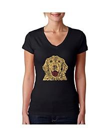 Women's Word Art V-Neck T-Shirt - Dog