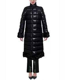 Faux Fur-Trimmed Down Coat
