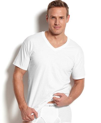 Hanes Platinum Men's Underwear,5 Pack V-Neck Undershirts ...