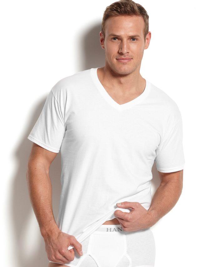 Hanes - Men's Big & Tall 4-Pk. Cotton V-Neck Undershirts