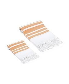 Herringbone Turkish Bath and Hand Towel 2 Piece Set