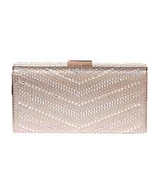 Large Chevron Pattern Crystal Box Clutch