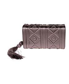 Faux Leather Diamond Pattern Box Clutch with Tassel