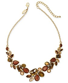 "Gold-Tone Multi-Stone Statement Necklace, 17"" + 3"" extender, Created For Macy's"