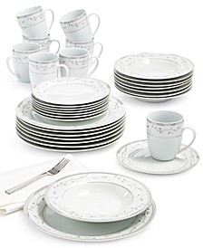 Platinum Vine 32-Piece Dinnerware Set, Service For 8
