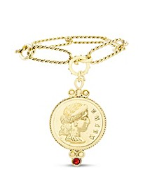 Figure Coin Pendant Bracelet in Yellow Goldtone Alloy with Rhinestone
