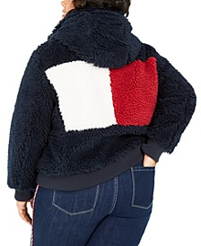 Plus Size Colorblocked Logo Sherpa Coat, Created for Macy's