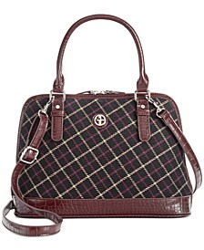 Plaid Croco Dome Satchel, Created For Macy's