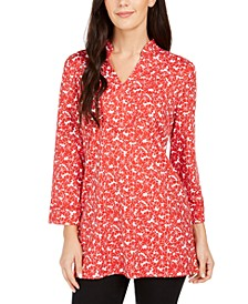 Floral Print Split-Neck Tunic, Created For Macy's