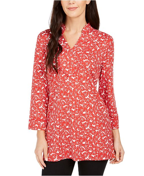 Charter Club Floral Print Split-Neck Tunic, Created For Macy's