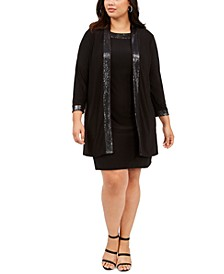Plus Size Sparkle-Trim Dress & Jacket