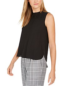 Sleeveless Pleated-Neck Top