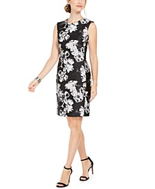Floral-Print Jacquard Sheath Dress