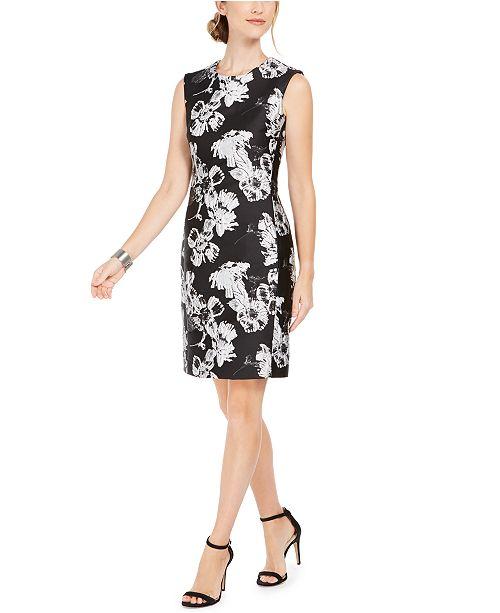 Natori Floral-Print Jacquard Sheath Dress
