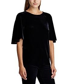 Petite Velvet Flutter-Sleeve T-Shirt