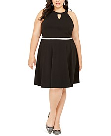 Trendy Plus Size Rhinestone Keyhole Fit & Flare Dress