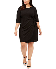 Robbie Bee Plus Size Glitter Knit Sarong Dress