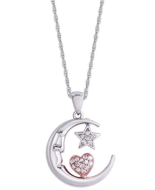 Macy's Diamond 1/5 ct. t.w. Star and Heart in Moon Pendant Necklace in Sterling Silver and 14K Rose Gold Plate