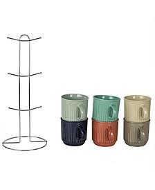 HDS Trading Pinstripe Mug Set with Stand - 6 Piece