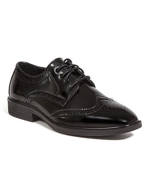 DEER STAGS Little and Big Boys Taro Jr. Stylish Lightweight Dress Comfort Classic Wingtip Oxford Shoes