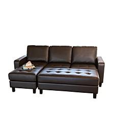 Houston Tufted Leather Sectional & Ottoman Set