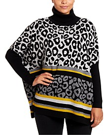 Animal-Print Turtleneck Poncho